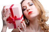 Girl with present — Stock Photo