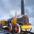 Old russian steam locomotive - Stock Photo
