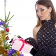 Stock Photo: Model with christhmas present