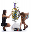 New year tree triming — Stock Photo #1308272