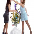 New year tree triming — Stock Photo