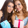Models with presents — Stock Photo