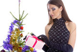 Model with christhmas present — Stock Photo
