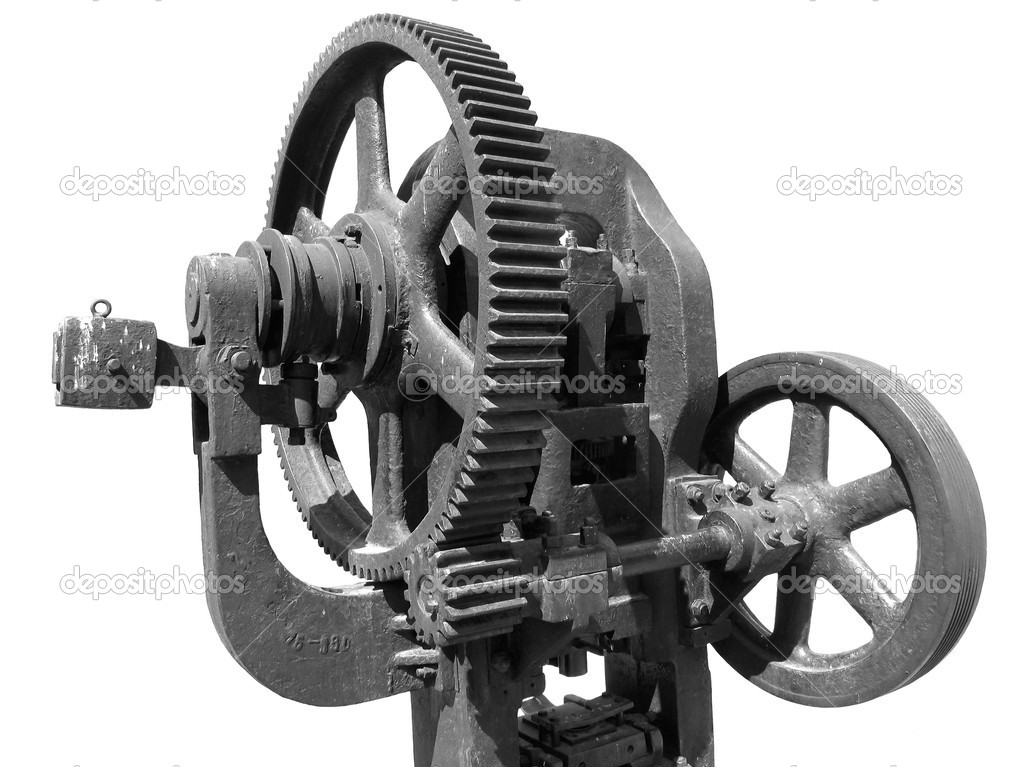 Old forging press on white background — Stock Photo #1300170