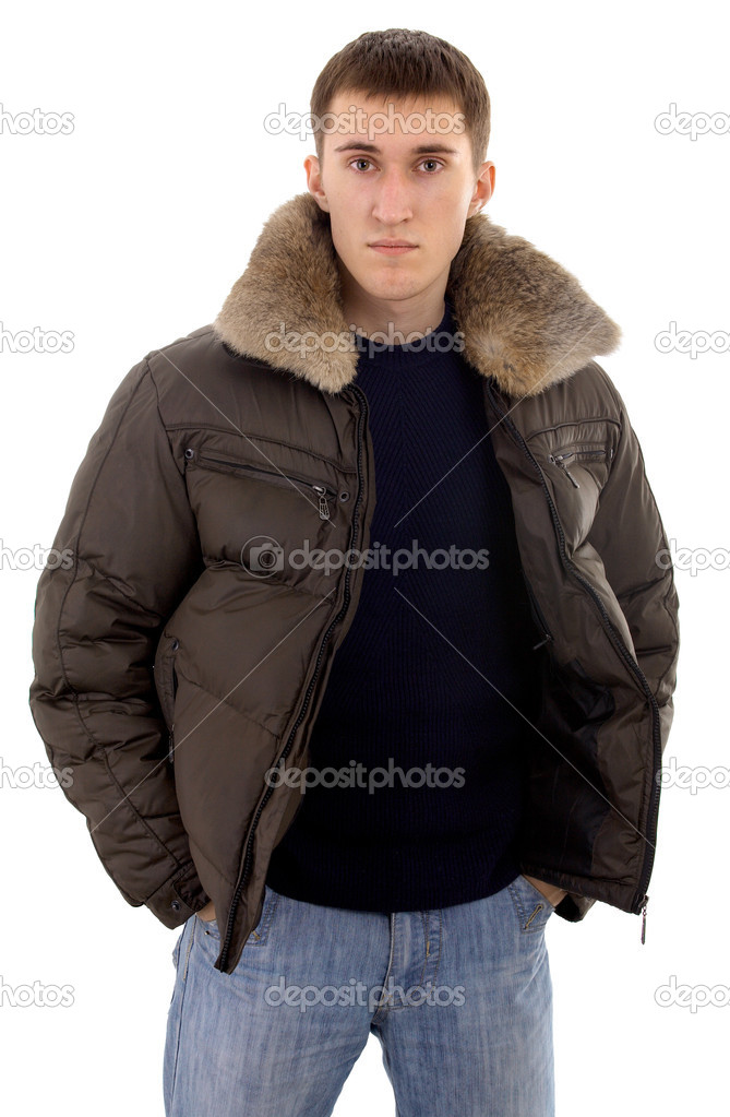 Male caucasian person with warm clothing on isolated background — Stock Photo #1307949