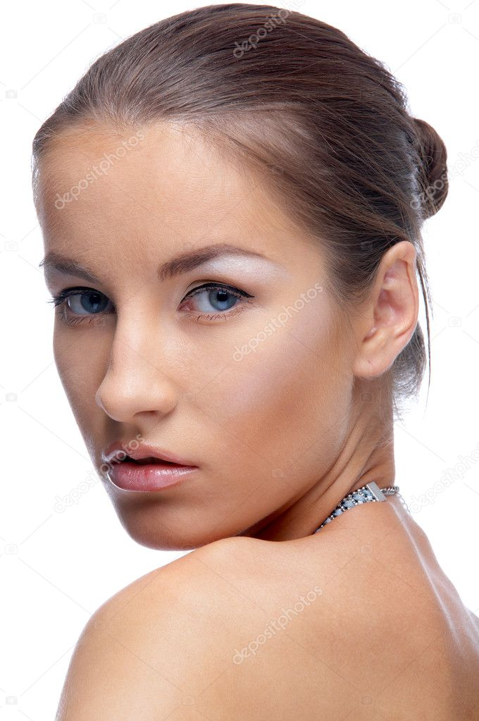 Close-up portrait of beautiful blue eyed caucasian model on white — Stock Photo #1350657