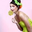 Beautiful model with lollipop — Stock Photo #1364696