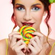 Royalty-Free Stock Photo: Beautiful model with lollipop