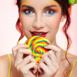 Beautiful model with lollipop — Stock Photo #1364774