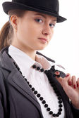 Girl in black hat — Stock Photo