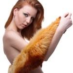 Model in fur scarf — Stock Photo #1459736