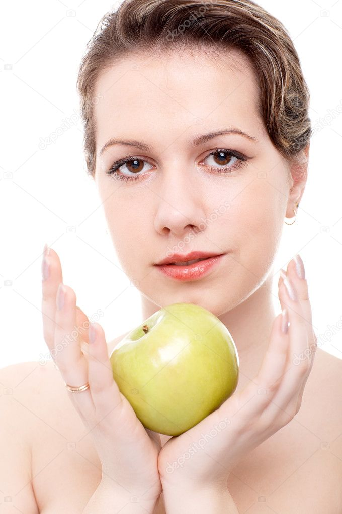 Portrait of girl with apple in hands  Stock Photo #1459493