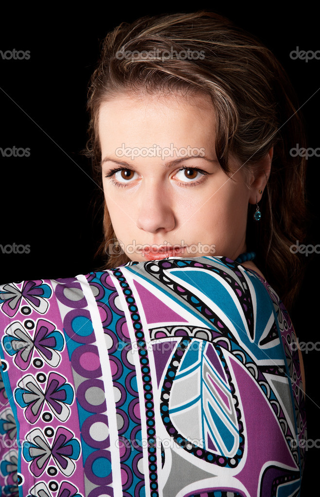 Portrait of pretty girl on black — Stock Photo #1459526