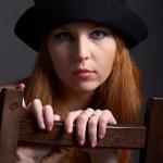 Redhead model in fur — Stock Photo #1460299