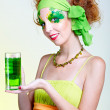 Girl with green beer — Stock Photo