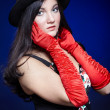 Girl in red gloves — Stock Photo