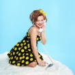 Pin-up girl with closed eyes — Stock Photo #2543072