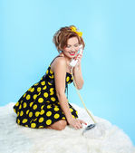 Pin-up girl with closed eyes — Stock Photo