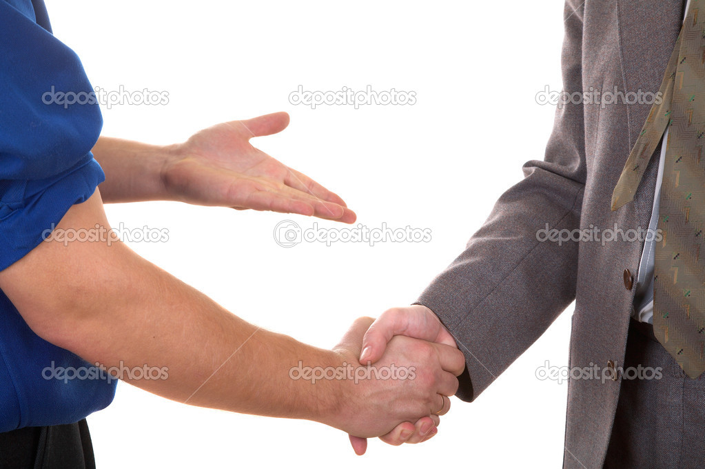 Two men shaking hands isolated on the white backgrond — Stock Photo #2559176