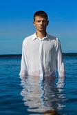 Man in sea waters — Stock Photo