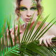 Stock Photo: Dryad girl with fern