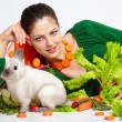 Girl and pygmy rabbit — Stock Photo