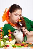 Girl and pygmy rabbit — Stock Photo
