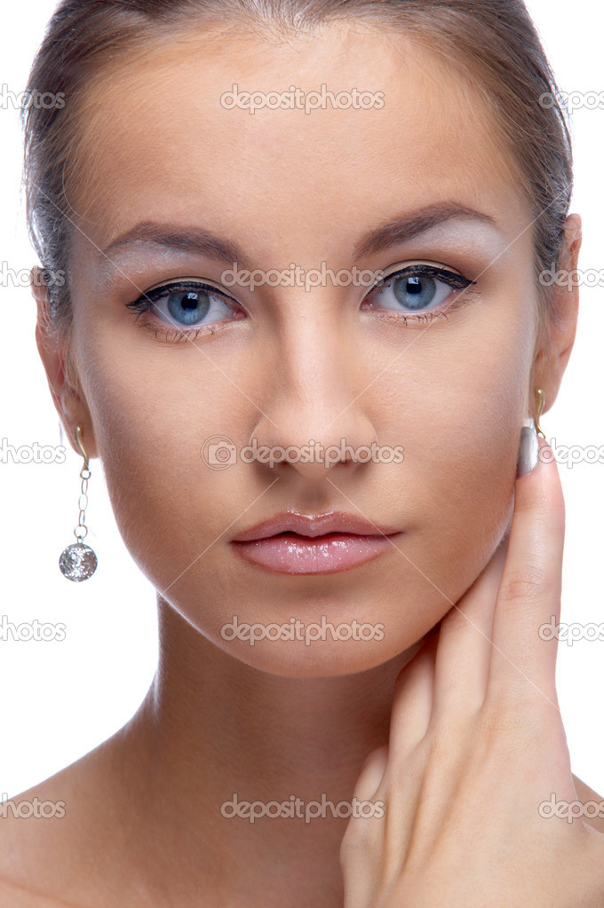 Close-up portrait of beautiful blue eyed caucasian model on white — Stock Photo #2631513
