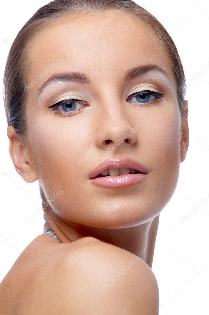 Close-up portrait of beautiful blue eyed caucasian model on white — Stock Photo #2631627