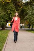 Girl on sidewalk — Stock Photo