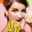 Beautiful model with lollipop - Stock Photo