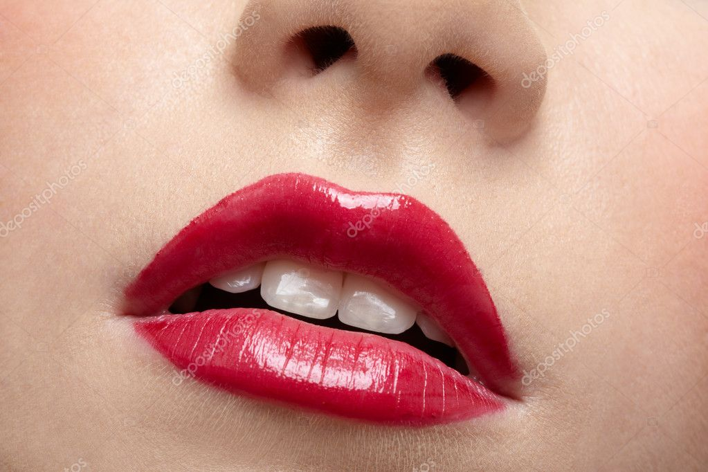 Close-up of beautiful girl's lips zone make up  Stock Photo #2677565