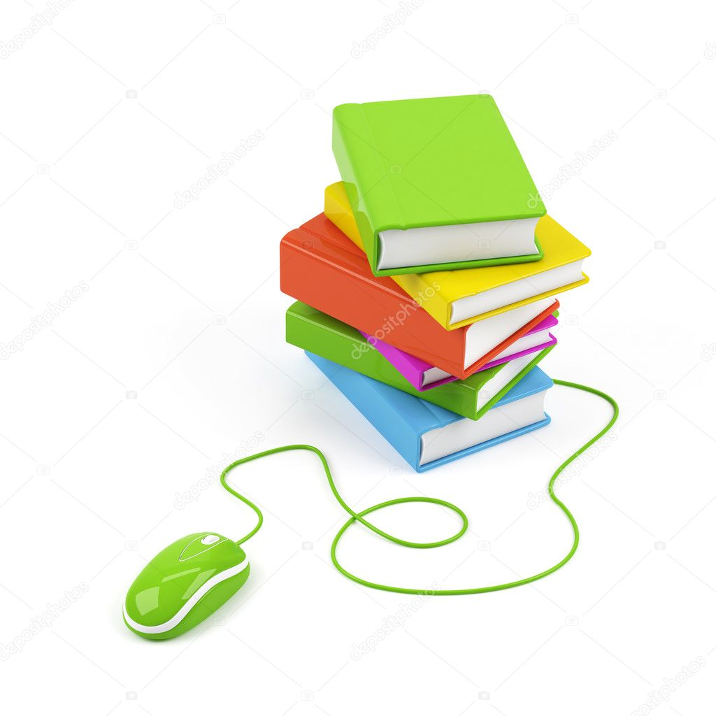 Computer mouse and books - e-learning concept. 3d image. — Stock Photo #1290311