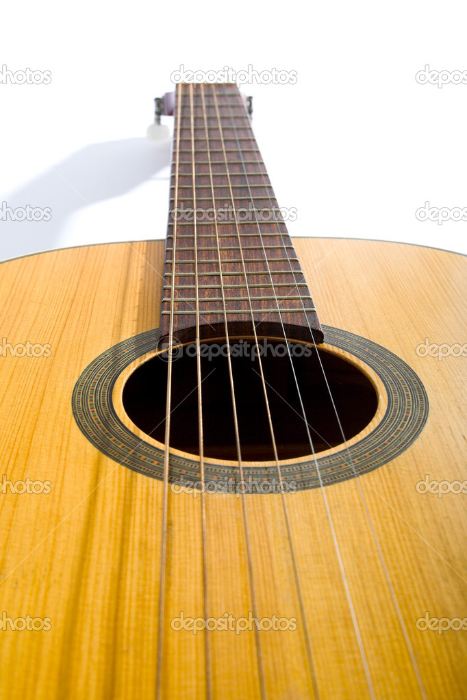 Acoustic guitar isolated on the white background — Stock Photo #1195000