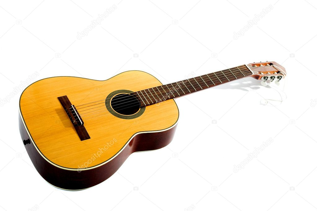 Acoustic guitar isolated on the white background — Stock Photo #1195054