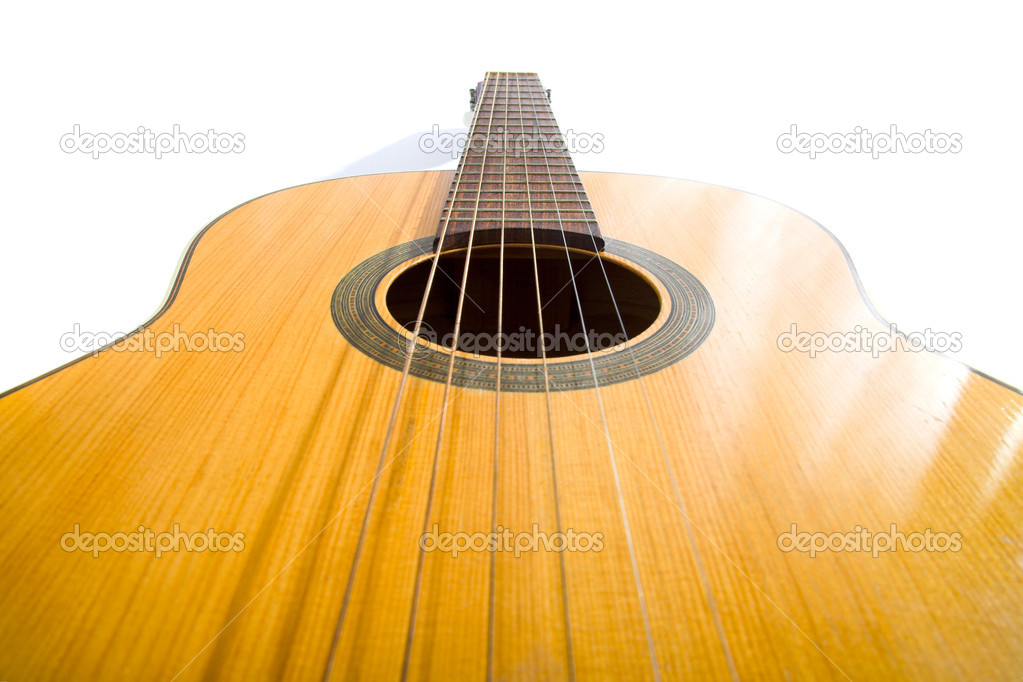 Acoustic guitar isolated on the white background — Stock Photo #1195189