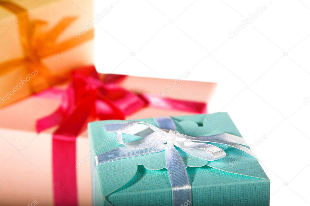 Three colored gift boxes on the white  Stock Photo #1197905