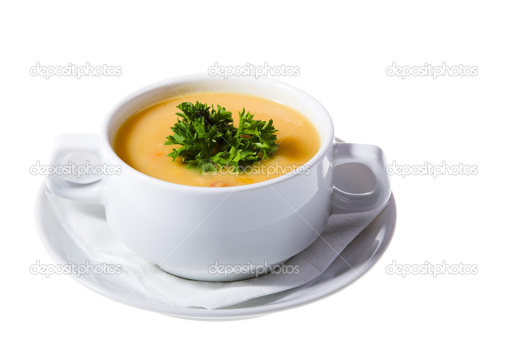 Thick soup in white isolated on white background — Stock Photo #1198379