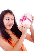 Girl with gift — Stock Photo