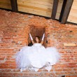 Bride in building site — Stock Photo