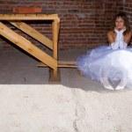 Bride in building site — Stock Photo #1462818