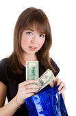 Chica con bolsa de papel azul — Foto de Stock