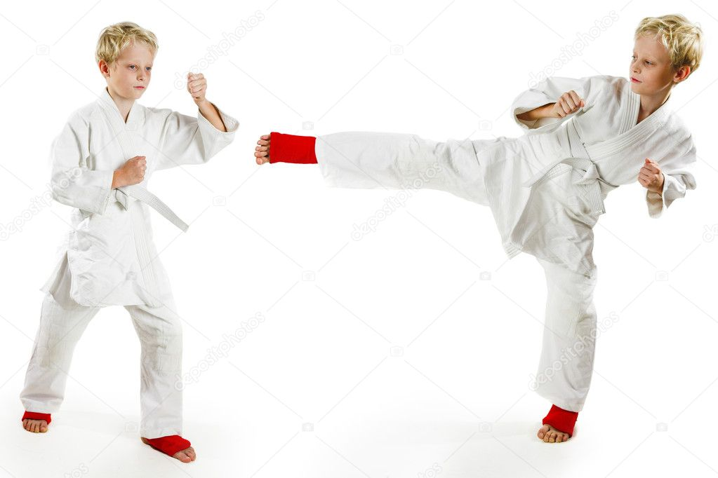 Karate boy exercising on white background  Stock Photo #1462135