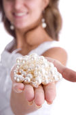 Girl with pearls — Stock Photo