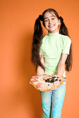 Pretty smiling girl with pizza — Stock Photo