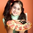 Pretty girl take pizza — Stock Photo