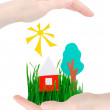 House, tree, the sun and grass in hands — Stock Photo