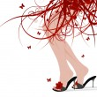 Female feet, floral skirt — Vector de stock