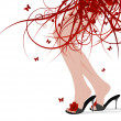 Female feet, floral skirt — Imagen vectorial