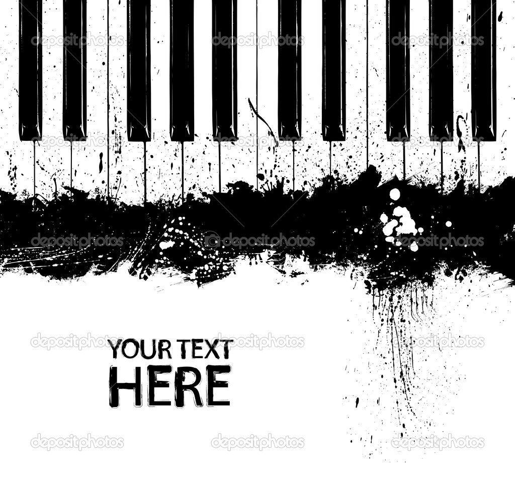 Grunge black and white piano keys with copy space — Stock Vector #1997890